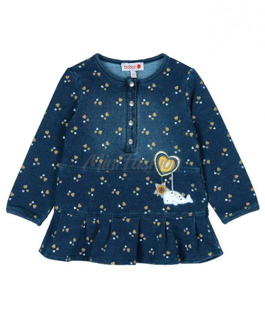 Бебешка дънкова рокля Boboli със сърца 6033 022