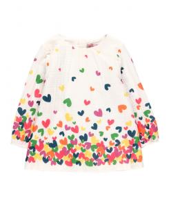 Детска рокля Boboli с щампи на сърца