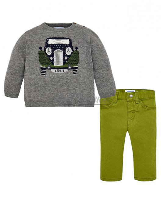 Бебешки комплект Mayoral с пуловер и панталон за момче 2588 091