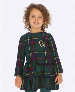 Детска карирана рокля Mayoral с бродерия