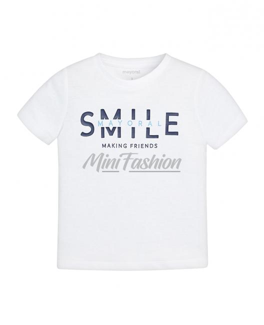 Детска памучна тениска Mayoral с надпис за момче 0170 017