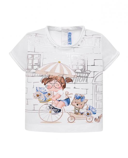 Бебешка тениска Mayoral с принт за момиче 1010 033