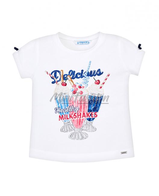 Детска памучна тениска Mayoral с принт за момиче 3003 063