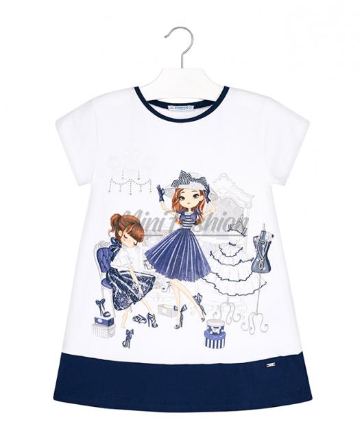 Детска трикотажна рокля Mayoral с щампа 3945 074