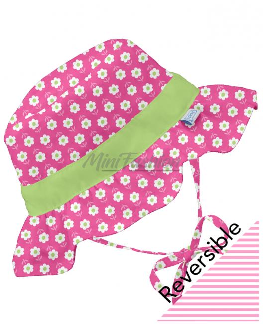 Бебешка шапка iPlay с две лица Pink Daisy